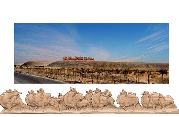 内蒙古高速路旁群雕骆驼小稿